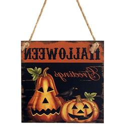 Leewa@ Indoor Outdoor Witch Bat Skull Pumpkin Wooden Hallowe