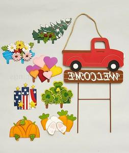 Interchangeable Truck Garden Stake Set Yard Lawn Art Welcome