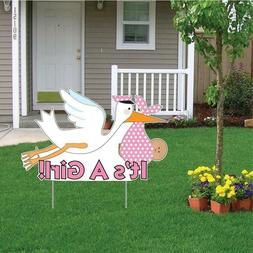 "It's a Girl"" Die Cut Stork, Baby Announcement Yard Sign  - F"