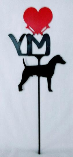 Jack Russell Terrier Love Yard Sign Metal Silhouette Made in