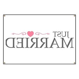 "CafePress Just Married  - Vinyl Banner, 44""x30"" Hanging Sign"