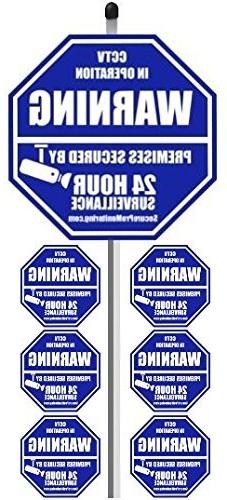 """1 """"REAL"""" CCTV Security Camera Home Alarm Yard Sign  with 36"""""""