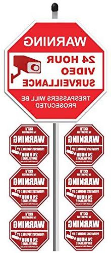 "1 ""24 Hour Video Surveillance"" Yard Sign  with 36"" Long Stak"