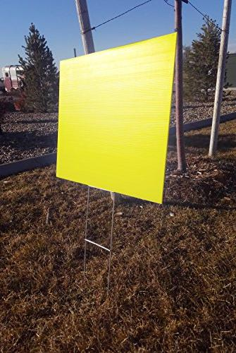 Blank Yellow Yard 18x24 with H-stakes for Garage Sale Signs, Rent, House, Estate Political Lawn