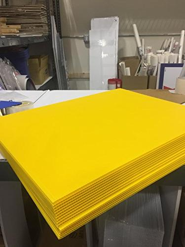 Box of Blank Yellow Signs 18x24 Garage Rent, Open Sale, Political