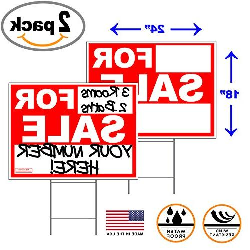 """2 Pack of Large 24"""" x 18"""" for Sale Yard Or Lawn Signs Double"""