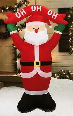 8 Foot Inflatable Santa with HO HO HO Banner Sign Indoor Out