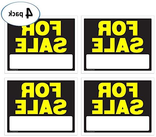 For Sale Signs 11 x 14 Inch - 4 Pack, Black & Neon Fluoresce