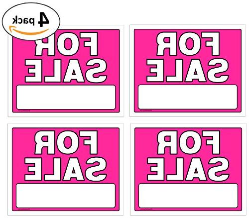 For Sale Signs 11 x 14 Inch - 4 Pack, Neon Fluorescent Pink