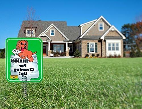 IMPROVED Dog Sign for Yard, Dog Poop are sides & METAL made Materials | FOR CLEANING | Keeps From Pooping or On L