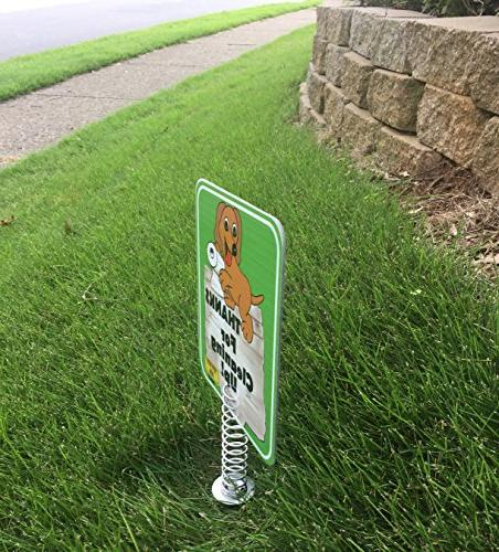 IMPROVED Poop Sign for Yard, Poop Signs are sides METAL made Stronger | Tell THANKS FOR UP Keeps Dogs Pets From On your L