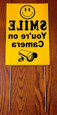 SMILE YOU'RE ON CAMERA Coroplast  YARD SIGN 8x12  w/ Stake