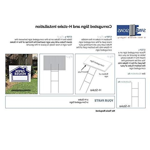 """Sam's Signs By Owner Kit - Sided Signs and Heavy Duty H-Stakes Blue Property 24"""" 18"""" - FSBO Lawn - Signs"""