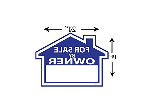 """Sam's For By Owner Sign - Signs and Duty H-Stakes Property Signs 18"""" X 24"""" and - FSBO Lawn - Signs"""