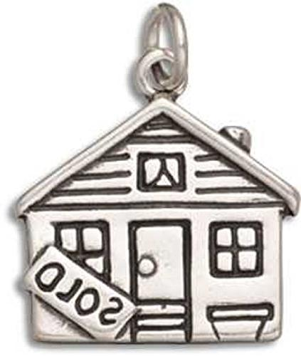Sterling Silver Girls .8mm Box Chain Cute Cottage House Sold Sign In Yard Pendant Necklace