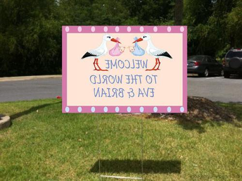 Welcome Stork Yard Sign