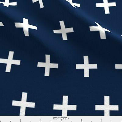 Baby Plus Sign Navy Fabric Printed BTY
