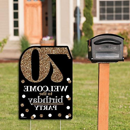Big Dot Happiness Adult Birthday - Gold - - Yard Sign