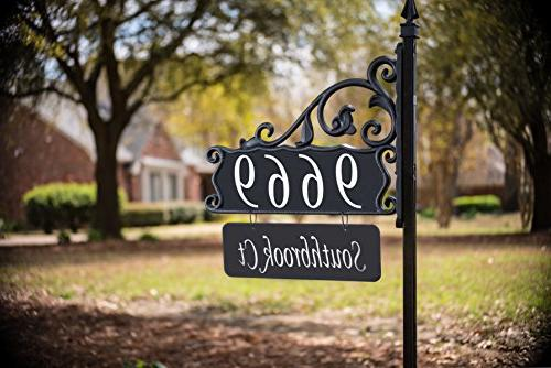 """Address Sign 48"""" with holder and street/family name"""
