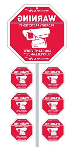 CCTV Security Camera Sign with Stake & 6 Decals Great Securt