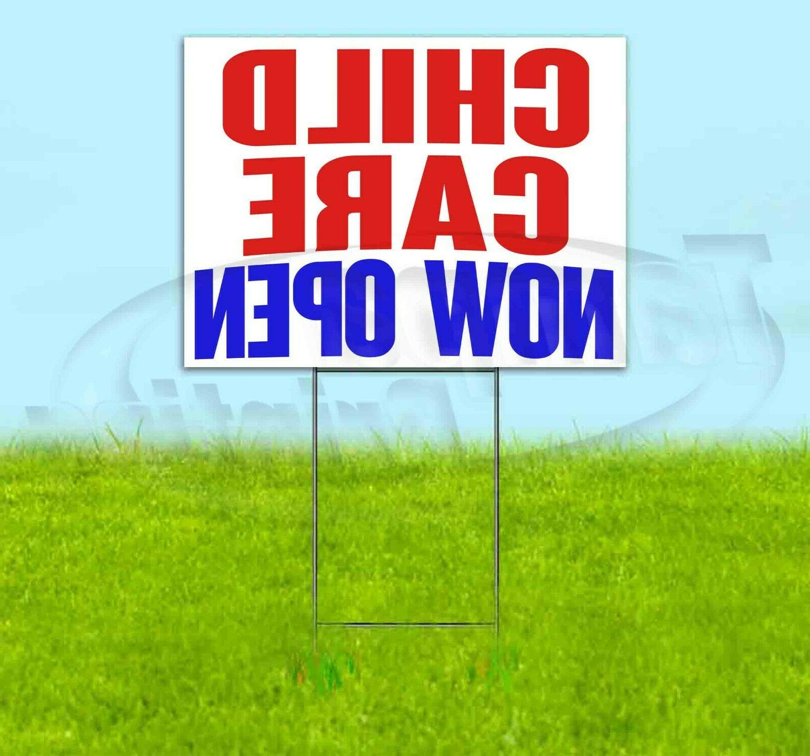 child care now open yard sign corrugated