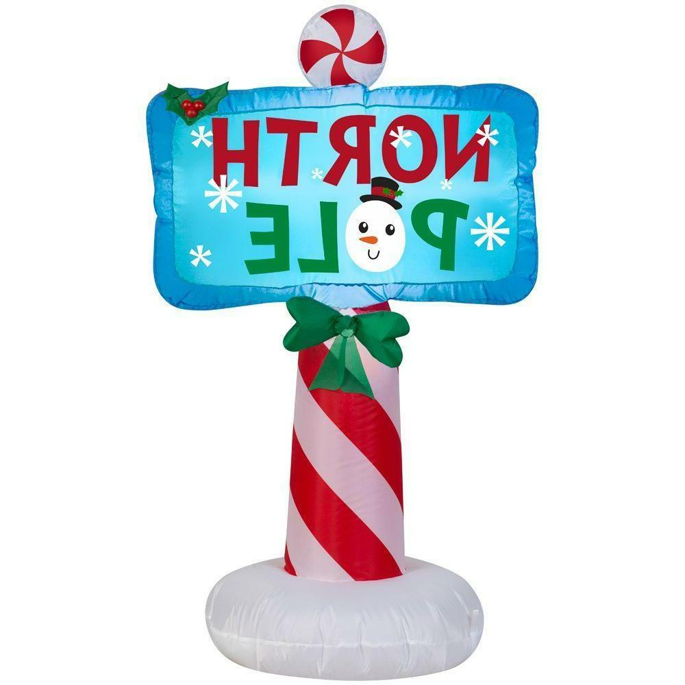 CHRISTMAS SANTA NORTH POLE SIGN  AIRBLOWN INFLATABLE YARD DE