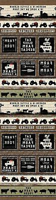 Country Rustic Fabric - Farmhouse Life Tractor & Sign Stripe