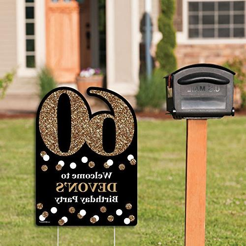 Big of Happiness Custom 60th Birthday - Gold - Decorations - Personalized Welcome Yard Sign
