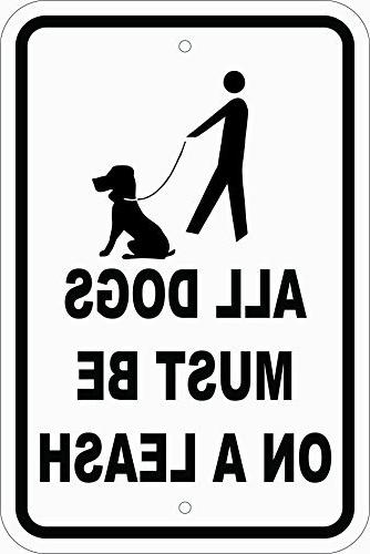 dogs must a leash white