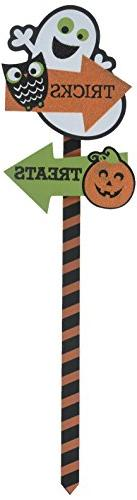 Amscan Family Friendly Pumpkin Yard Sign Halloween Trick Or