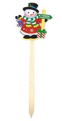 Festive Holiday Winter Snowman Merry Christmas Wooden Yard S