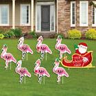 Flamingle Bells - Tropical Flamingo Christmas Yard Signs & D