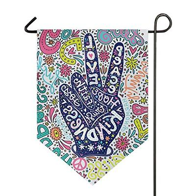 floral peace sign gesture garden flag welcome