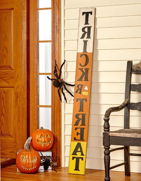 Front Porch Decor Trick Or Treat Sign Welcome Yard Decoratio
