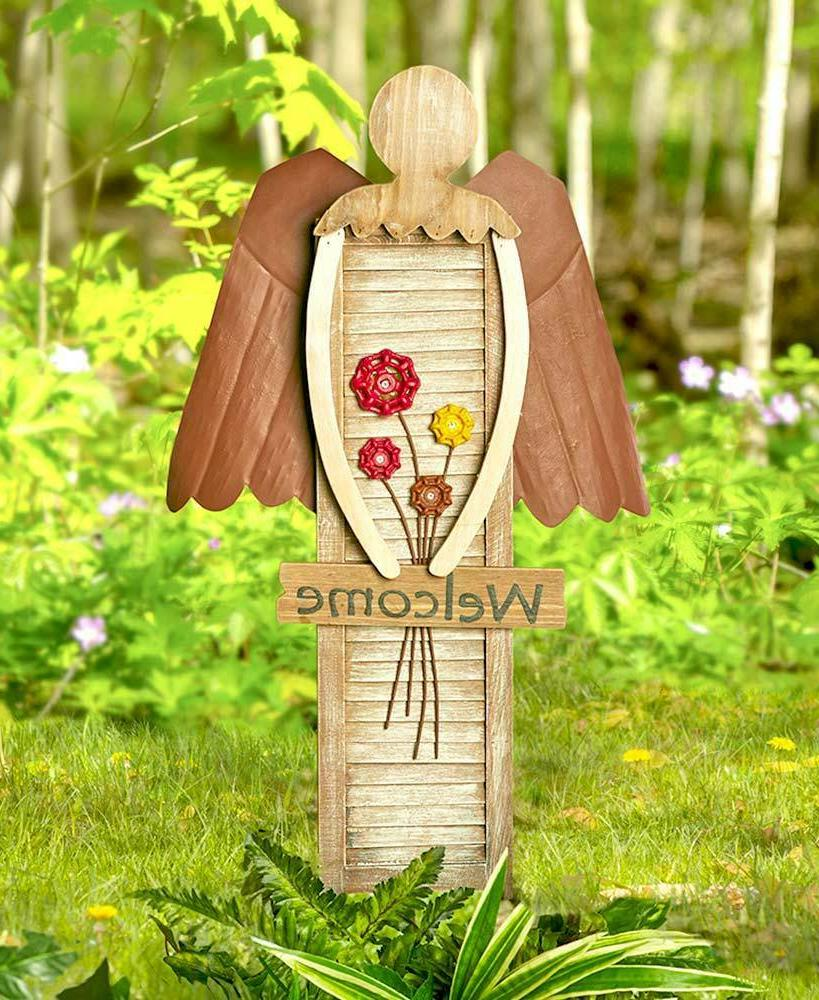 Garden Shutter Angel Welcome Sign Statue Outdoor Garden Yard