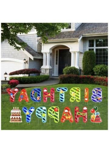 Happy Birthday Yard with Stakes Colorful Letter