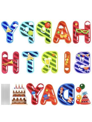 happy birthday yard sign with stakes colorful