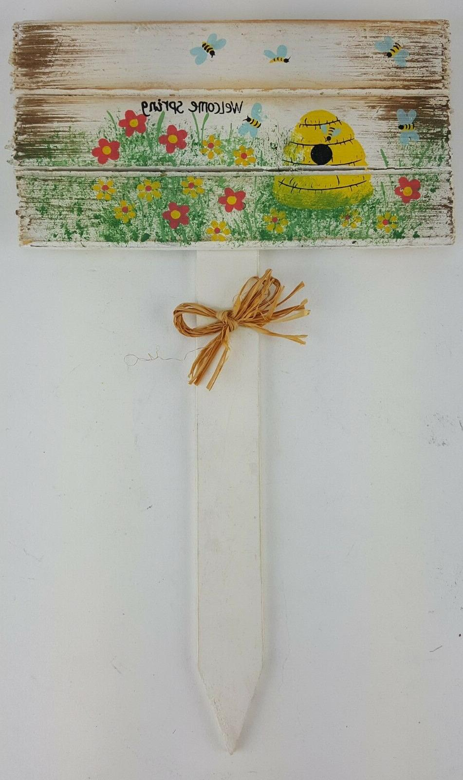happy easter welcome spring yard sign stake