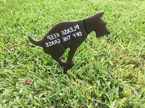 """Keep Off The Grass Pooping 12"""" Solid Cast Painted Sides"""