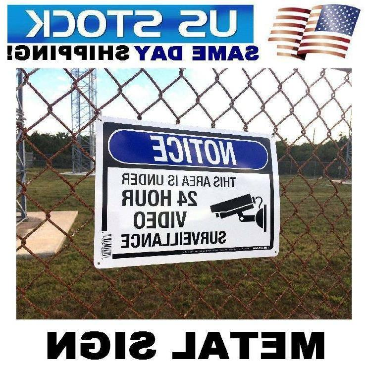 LARGE METAL Home Security Cameras in use Warning Yard Sign 1