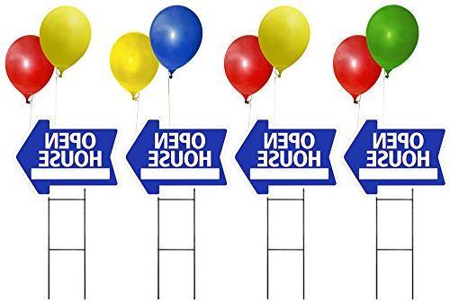 Open Sunday Sign Kit with Area for Time Includes 24 Sign Stake Blue House Shape Corrugated Sign