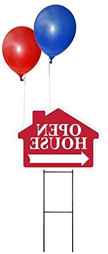 OPEN HOUSE Sign Kit with Balloons - House Shaped