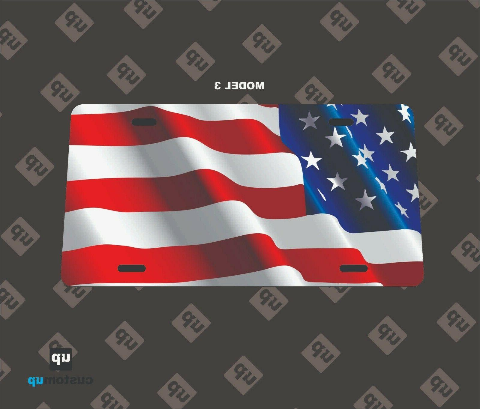 PERSONALIZED ALUMINUM PLATE AMERICAN FLAG