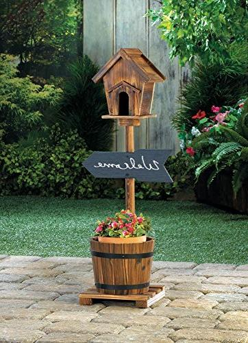 planters welcome sign rustic birdhouse