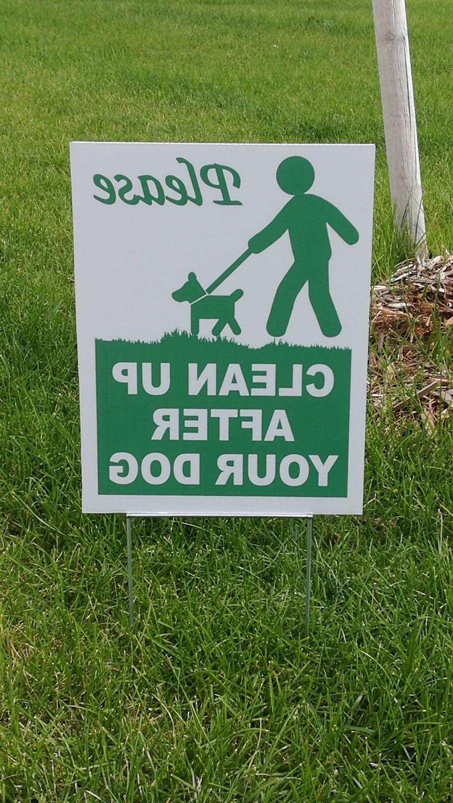 "Please Clean After Dog 12"" Plastic Yard Sign Metal - Pack"