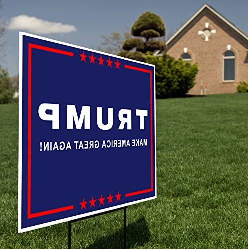 President Donald - Make America - Yard Sign 15-inch Wire Stake
