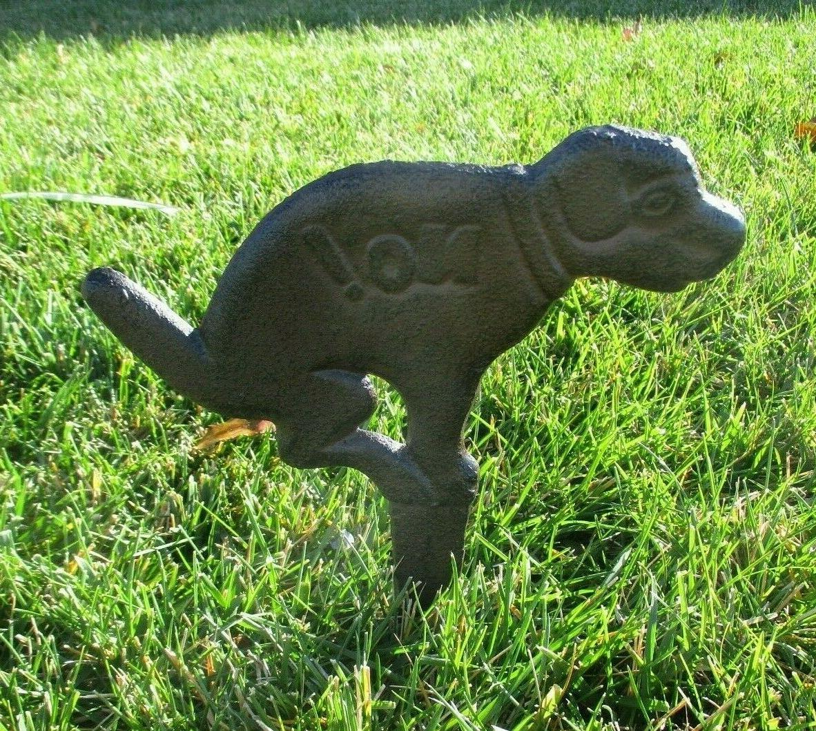 RUSTIC NO DOG POOPING POOP SIGN FOR LAWN YARD STAKE PET WAST