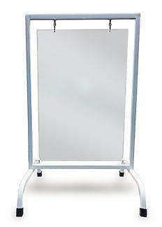 Sidewalk sign stand with swinging sign blank, Frame Color=Bl