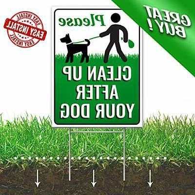 """Signs Authority Clean After Your Dog 12"""" x Yard with"""