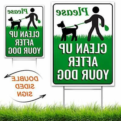 """Signs Authority Clean Up After Your Dog 12"""" x 9"""" Yard Sign w"""